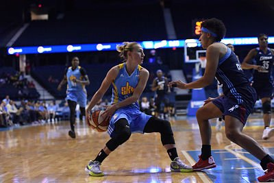 Courtney Vandersloot debates the pass as Layshia Clarendon defends. Photo courtesy of Chicago Sky.