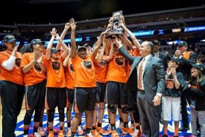 Oregon State celebrates their regional win and advancement to the Final Four last March. Photo courtesy of OSU Athletics.