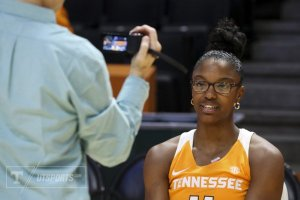 Diamond DeShields is on video at Tennessee media day. Photo by UT Athletics.