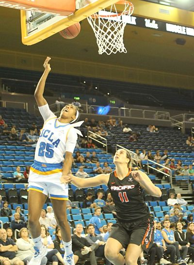 Monique Billings powers up a shot. UCLA scored 36 points in the paint to Pacific's six. Photo by Benita West/TGSportstv1.