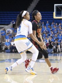 Jordin Canada and Courtney Jaco are longtime friends off the court, and foes on the court. Photo by Benita West, TGTVSports1.