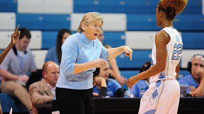 Sylvia Hatchell emphasizes a point at a pause in a game. Photo courtesy of UNC Athletic Communications.