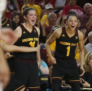 Robbi Ryan, left, and Reili Richardson have filled crucial roles for the Sun Devils in the face of injuries. Photo by Patrick Breen/AZCentral Sports.