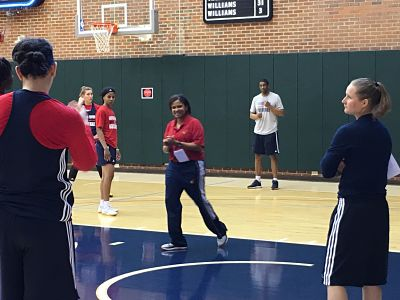 Indiana Fever coach Pokey Chatman pauses during the first day of training camp. Photo courtesy of Indiana Fever.
