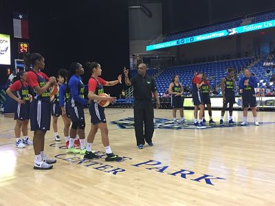 Fred Williams explains a drill in the Dallas Wings' first day of training camp Sunday. Photo courtesy of Dallas Wings.