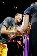 Candace Parker receives her Championship rings from WNBA president Lisa Borders. Photo by Maria Noble/WomensHoopsWorld.