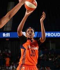 Jonquel Jones has doubled her statistical output in her second year, and is one of only two WNBA players averaging a double-double this season. Photo by NBAE via Getty Images.