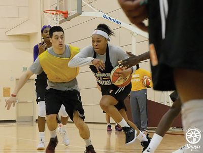 Odyssey Sims breaks the press during Sparks training camp. Photo courtesy of Los Angeles Sparks.