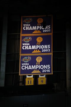 The Los Angeles Sparks raised their 2016 WNBA Championship banner prior to tipoff of Saturday's season opener. Photo by Maria Noble/Women's Hoops World.