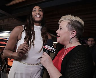 Alaina Coates talks with ESPN's Holly Rowe after the Chicago Sky selected her with their second pick in the 2017 WNBA Draft. Photo by Julie Jacobson/AP.