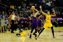 Candace Parker defends Diana Taurasi as Alana Beard is fouled, left. Photo by Maria Noble/WomensHoopsWorld.