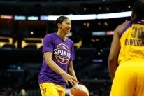 Candace Parker shares a laugh with teammates at shootaround. Photo by Maria Noble/WomensHoopsWorld.