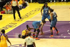 Nneka Owumike and Seimone Augustus battle for ball control. Photo by Benita West/TGSportsTV1.