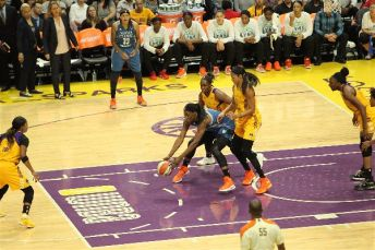 Sylvia Fowles battles for ball control. Photo by Benita West/TGSportsTV1.
