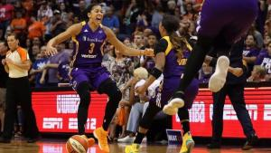 Candace Parker and Odyssey Sims celebrate after beating Phoenix. Photo by Christian Petersen/NBAE via Getty Images.