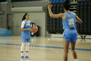 Jordin Canada weighs her passing options with Monique Billings defending her. Photo by Maria Noble/WomensHoopsWorld.