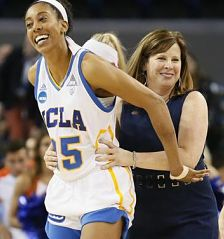 Monique Billings, left, and coach Cori Close, right, smile after UCLA's defeat of Boise State in the first round of last yaer's NCAA Tournament. Photo by Danny Moloshok/Associated Press.