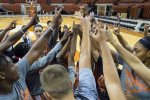 The Longhorns come together at the end of practice. Photo courtesy of Texas Athletics.