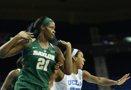 Kalani Brown and Monique Billings guarded each other in the paint all game long. Photo by Maria Noble/WomensHoopsWorld.