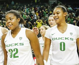 Oti Gildon and Satou Sabally smile after the Ducks' win over Hampton. Photo courtesy of Oregon Athletics.