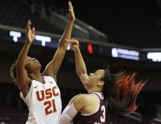 Chennedy Carter watches her shot fall. Photo by Maria Noble/WomensHoopsWorld.