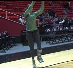 Lexi Bando joined her teammates at pre-game shootaround in Utah this past weekend. Photo by Matt Prehm.