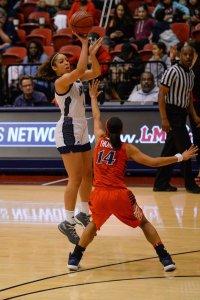 Cheyenne Wallace elevates to score. Photo by John Shaffer.