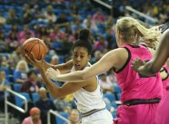 Monique Billings swings the ball before making a move. Photo by Maria Noble/WomensHoopsWorld.