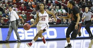 Kiana Williams paced the Cardinal against USC with 18 points. Photo courtesy of Stanford Athletics.