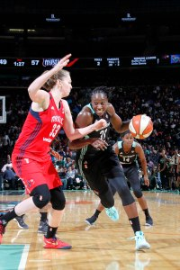 Tina Charles battles the defense. Photo by MSG Networks.
