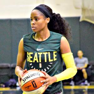 No. 5 draft pick Jordin Canada has impressed her Seattle Storm teammates in the first week of training camp. Photo by Neil Enns/Storm Photos.