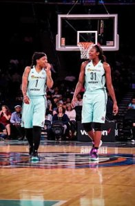Shavonte Zellous, left, and Tina Charles came up big to lead the Liberty past the Wings, 94-89. Photo courtesy of New York Liberty.