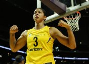 Candace Parker is hyped after scoring a tough basket. Maria Noble/WomensHoopsWorld.