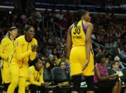 The referee calls Nneka Ogwumike for a technical for her celebration after scoring. Maria Noble/WomensHoopsWorld.