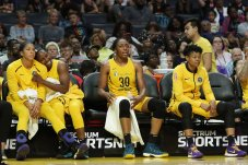 Sparks starters as the game clock winds down. Photo by Maria Noble/WomensHoopsWorld.