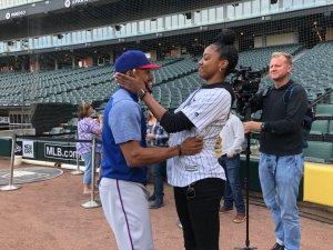 Delino DeShields Jr. and Diamond DeShields hug before a Chicago White Sox game last month. Photo courtesy of Chicago White Sox.