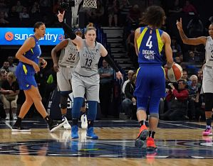 Lindsay Whalen calls out the defensive play as Skylar Diggins-Smith brings the ball up court. Photo courtesy of Minnesota Lynx.