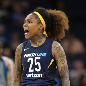 Cappie Pondexter exults after draining a long-range three-point shot in the midst of a Fever run. Photo courtesy of Indiana Fever.