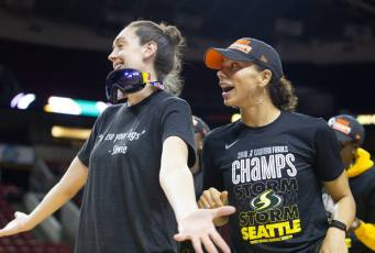 Breanna Stewart and Alysha Clark wait to hear if Sue Bird will return for the 2019 season. Neil Enns/Storm Photos.