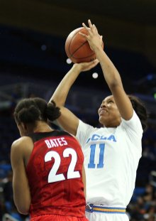 Lajahna Drummer goes up for the shot, makes it and is fouled. Maria Noble/WomensHoopsWorld.