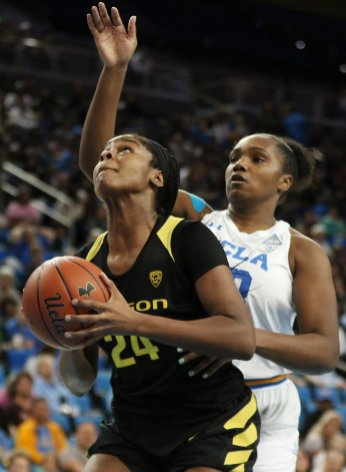 Ruthy Hebard is defended by Lauryn Miller. Maria Noble/WomensHoopsWorld.