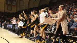 The Arizona State bench erupts at a basket in the final seconds of their double-overtime win over Oregon State yesterday. Photo courtesy of Arizona State Athletics.