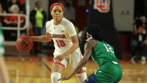 Chastadie Barrs became the NCAA's career steals leader last week. Photo courtesy of Lamar Athletics.