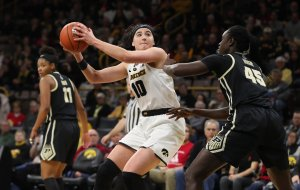 Megan Gustafson's scoring outbursts have paced the Iowa Hawkeyes this season. Photo courtesy of Big Ten.