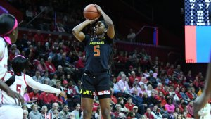 Kaila Charles lead Maryland to the Big Ten regular-season title. Photo courtesy of Big Ten.