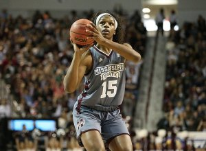 Teaira McCowan has helped Mississippi State dominate in the paint this season. Kelly Price/Mississippi State Athletics.