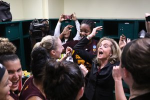 Charli Turner Thorne and Arizona State celebrate their win over Miami and Sweet 16 berth. Photo courtesy of Sun Devil Athletics.