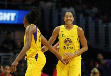 Thursday, August 1, 2019 - The Los Angeles Sparks in action against the Las Vegas Aces at Staples Center in Los Angeles, California. (Maria Noble)