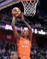 Connecticut Sun center Jonquel Jones (35) shoots during the WNBA Semi-Finals between the Los Angeles Sparks and the Connecticut Sun at Mohegan Sun Arena, Uncasville, Connecticut, USA on September 19, 2019. Photo Credit: Chris Poss