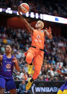Connecticut Sun guard Courtney Williams (10) shoots during the WNBA Semi-Finals between the Los Angeles Sparks and the Connecticut Sun at Mohegan Sun Arena, Uncasville, Connecticut, USA on September 19, 2019. Photo Credit: Chris Poss